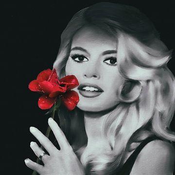 Brigitte Bardot met Rode Roos