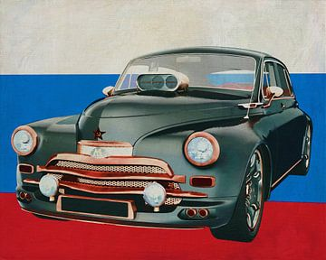 GAZ M20V 1946 met vlag van Rusland
