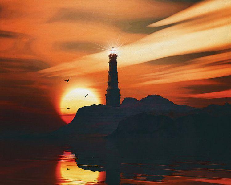 Vuurtoren met zonsondergang en wolken van Jan Keteleer