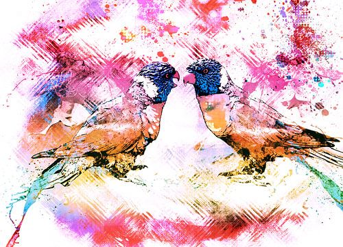 Abstract colored lori birds