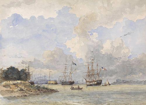 Maas voor Rotterdam, met een Amerikaans en Zweeds schip, Willem Anthonie van Deventer