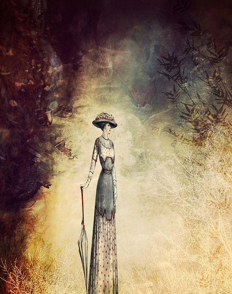 VINTAGE FASHION LADY IN ABSTRACT FOREST von Pia Schneider
