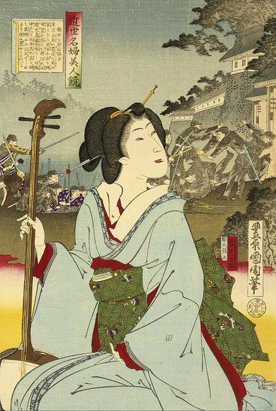 Vintage Geisha door Toyohara Kunichik van Vintage en botanische Prenten