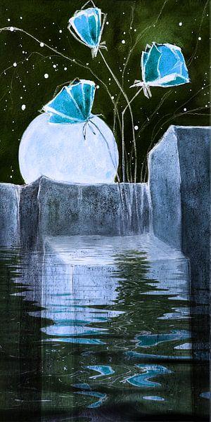 Maan rotsen en blauwe papavers, van Christine Nöhmeier