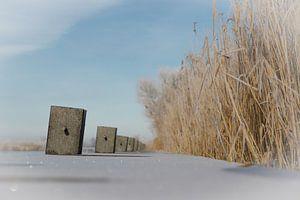 Aanlegsteiger in de sneeuw van Jaap Terpstra