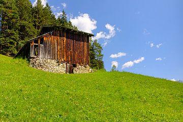 Schuur in Alpenweide van Johan Vanbockryck