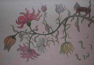 Potloodtekening van sprookjesachtige bloementak met katje van Breezy Photography and Design