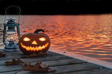 Halloweenpompoen in de zonsondergang van Marc-Sven Kirsch