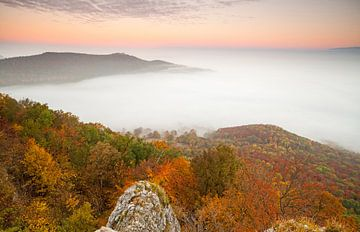 Aube Souabe d'automne - Château de Teck dans la mer de brouillard - sur Jiri Viehmann