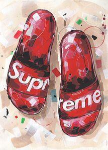 Supreme slippers schilderij van