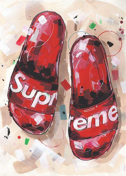 Supreme slippers schilderij van Jos Hoppenbrouwers