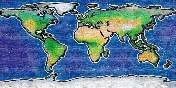 Wereldkaart graffiti van Frans Blok