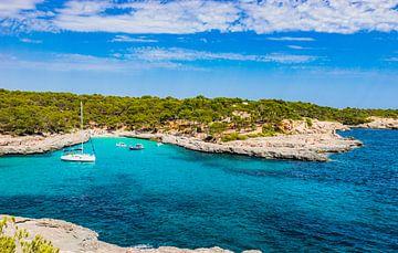 Mooie strandbaai met boten op Mallorca, Cala Mondrago van Alex Winter