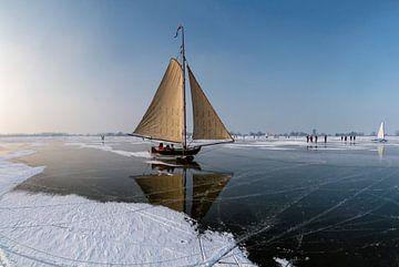 Ice sailing, Monnickendam, Noord-Holland,  Netherlands sur Rene van der Meer