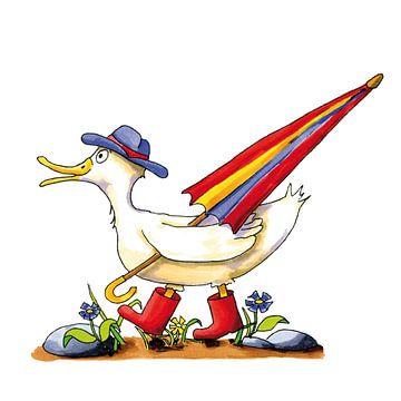 Lustige Ente läuft vorbei von Ivonne Wierink