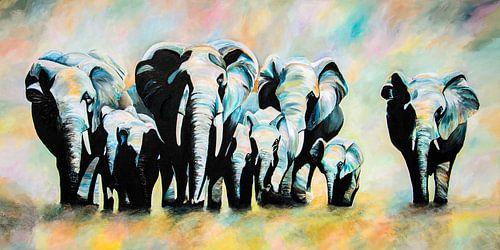 Afrikaanse olifanten familie van Angelique van den Berg