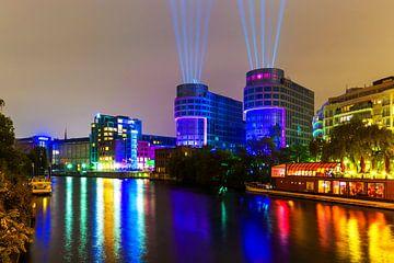 Spreebogen Berlijn bij nacht van Frank Herrmann