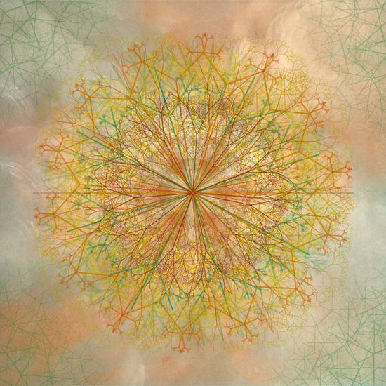 Mandala, krijtlijnen, geeltinten