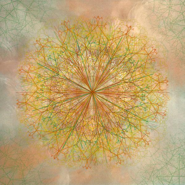 Mandala, krijtlijnen, geeltinten van Rietje Bulthuis