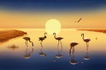 Flamingo's in de avondzon van Monika Jüngling