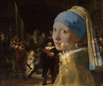 Girl with the Pearl Earring in der Nachtwache von Eigenwijze Fotografie