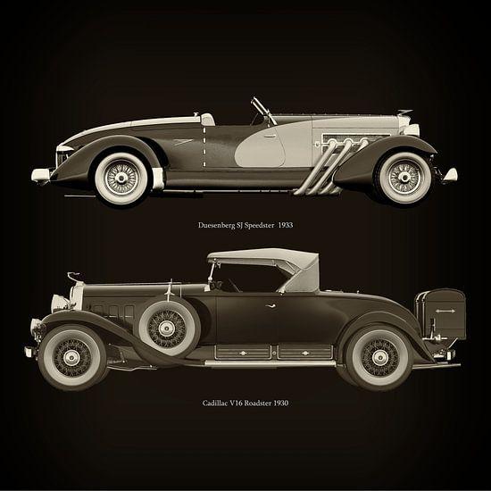 Duesenberg SJ Speedster 1933 en Cadillac V16 Roadster 1930