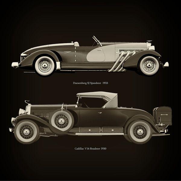 Duesenberg SJ Speedster 1933 en Cadillac V16 Roadster 1930 van Jan Keteleer