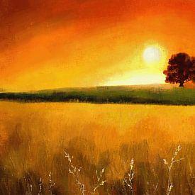 Expressief landschapsschilderij in warme kleuren van Tanja Udelhofen