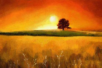 Expressief landschapsschilderij in warme kleuren van