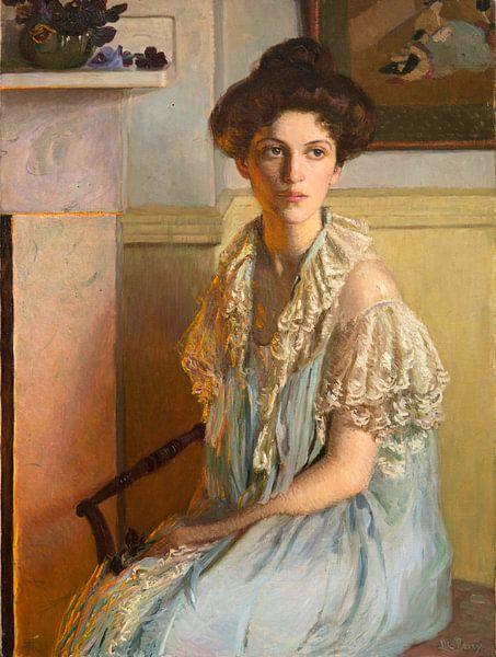 Dame mit einer Schale Veilchen, Lilla Cabot Perry von Meesterlijcke Meesters
