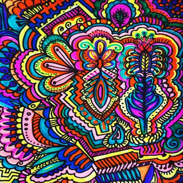 Tribal Decorative Color Zentangle von Rhonda Clapprood