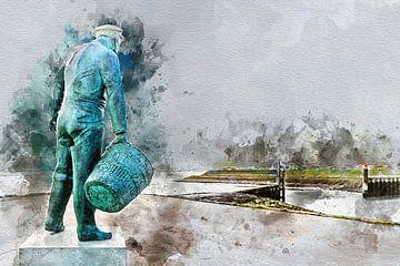 Zeg ken jij de mosselman , hij komt uit ........... Yerseke (kunstwerk) von Art by Jeronimo