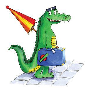 Mit Koffer reisendes Krokodil