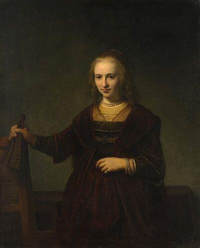 Portret van een vrouw, de stijl van Rembrandt van Meesterlijcke Meesters