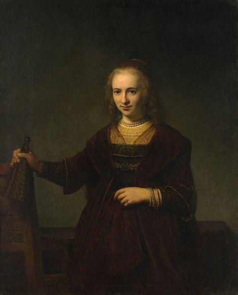 Portret van een vrouw, de stijl van Rembrandt van Rembrandt van Rijn