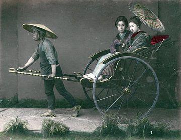 Vintage-Foto, Rikscha, Kusakabe Kimbei - 1870er - 1890er Jahre