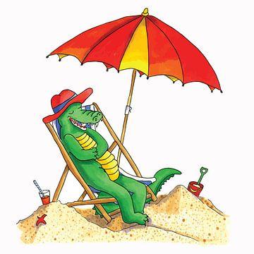 Krokodil auf Strandurlaub von Ivonne Wierink