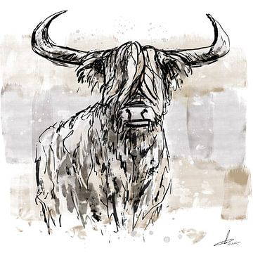 Stoere inkt tekening van schotse hooglander. Ingekleurd in Aquarel stijl van Emiel de Lange