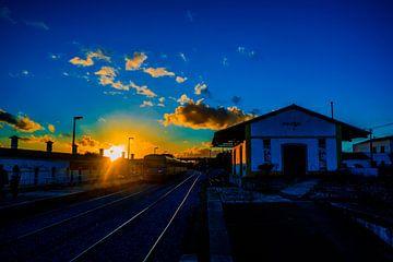 Verlaten treinstation in Silves, Portugal van Fred Leeflang