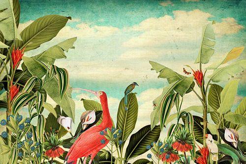 Botanisch met tropische vogels en bloemen