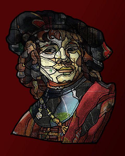Jonge Rembrandt in collage van Ruud van Koningsbrugge