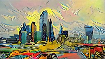 Abstract Schilderij Londonse Skyscrapers in stijl van Picasso