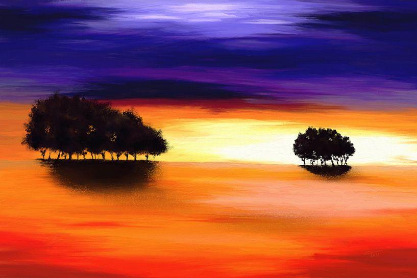 Landschapsschilderij in paars en oranje van Tanja Udelhofen