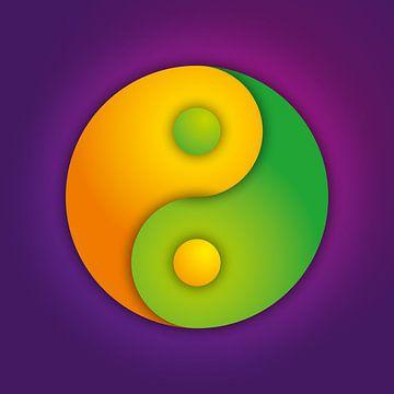 Vibrant Yin-Yang Symbol van Jörg Hausmann