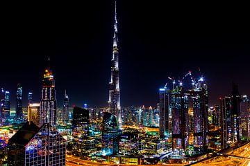 Burj Khalifa Dubai bei Nacht von Sjoerd Tullenaar