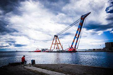 Visser en hijskraan - Aarhus haven van Tony Buijse
