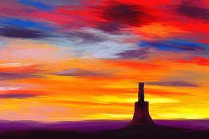 Expressief landschapsschilderij met dramatische kleuren van