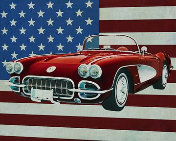 Chevrolet Corvette C1 von 1960 vor der amerikanischen Flagge von Jan Keteleer