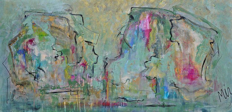 Golden beauty Abstractschilderij van Kunstenares Mir Mirthe Kolkman van der Klip