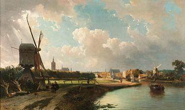 Gezicht op Den Haag, vanaf de Delftse vaart in de 17e eeuw sur